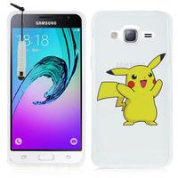 Samsung Galaxy J3 (2016) J320F/ J320P/ J3109/ J320M/ J320Y/ Duos: Coque Housse silicone TPU Transparente Ultra-Fine Dessin animé jolie + mini Stylet - Pikachu