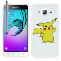 Samsung Galaxy J3 (2016) J320F/ J320P/ J3109/ J320M/ J320Y/ Duos: Coque Housse silicone TPU Transparente Ultra-Fine Dessin animé jolie + Stylet - Pikachu