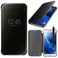 Samsung Galaxy J7 (2016) J710F/ Duos/ J710FN/ J710M/ J710H: Coque Silicone gel rigide Livre rabat + Stylet - NOIR