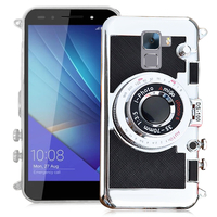Huawei Honor 7/ 7 Enhanced Edition/ 7 Dual SIM: Coque Silicone TPU motif appreil photo élégant camera case, support vidéo + mirroir - NOIR