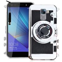 Huawei Honor 7/ 7 Enhanced Edition/ 7 Dual SIM: Coque Silicone TPU motif appreil photo élégant camera case, support vidéo + mirroir + mini Stylet - NOIR
