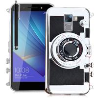 Huawei Honor 7/ 7 Enhanced Edition/ 7 Dual SIM: Coque Silicone TPU motif appreil photo élégant camera case, support vidéo + mirroir + Stylet - NOIR