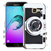 Samsung Galaxy A5 (2016) SM-A510F A510M A510FD A5100 A510Y (non compatible Galaxy A5 (2015)): Coque Silicone TPU motif appreil photo élégant camera case, support vidéo + mirroir - NOIR