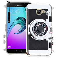 Samsung Galaxy A5 (2016) SM-A510F A510M A510FD A5100 A510Y (non compatible Galaxy A5 (2015)): Coque Silicone TPU motif appreil photo élégant camera case, support vidéo + mirroir + mini Stylet - NOIR