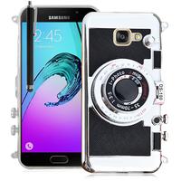 Samsung Galaxy A5 (2016) SM-A510F A510M A510FD A5100 A510Y (non compatible Galaxy A5 (2015)): Coque Silicone TPU motif appreil photo élégant camera case, support vidéo + mirroir + Stylet - NOIR
