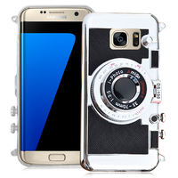 Samsung Galaxy S7 edge G935F/ G935FD/ S7 edge (CDMA) G935: Coque Silicone TPU motif appreil photo élégant camera case, support vidéo + mirroir - NOIR