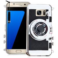 Samsung Galaxy S7 edge G935F/ G935FD/ S7 edge (CDMA) G935: Coque Silicone TPU motif appreil photo élégant camera case, support vidéo + mirroir + mini Stylet - NOIR
