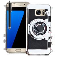 Samsung Galaxy S7 edge G935F/ G935FD/ S7 edge (CDMA) G935: Coque Silicone TPU motif appreil photo élégant camera case, support vidéo + mirroir + Stylet - NOIR
