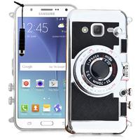 Samsung Galaxy J5 SM-J500F/ J500FN: Coque Silicone TPU motif appreil photo élégant camera case, support vidéo + mirroir + mini Stylet - NOIR