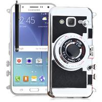 Samsung Galaxy J5 SM-J500F/ J500FN: Coque Silicone TPU motif appreil photo élégant camera case, support vidéo + mirroir + Stylet - NOIR