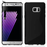 Samsung Galaxy Note7 N930F/ Note 7 Duos/ Note7 (USA) N930: Accessoire Housse Etui Pochette Coque Silicone Gel motif S Line + mini Stylet - NOIR