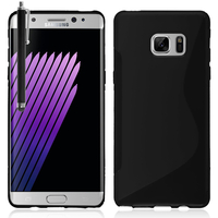 Samsung Galaxy Note7 N930F/ Note 7 Duos/ Note7 (USA) N930: Accessoire Housse Etui Pochette Coque Silicone Gel motif S Line + Stylet - NOIR