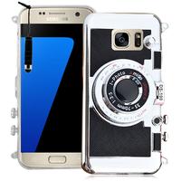 Samsung Galaxy S7 G930F/ G930FD/ S7 (CDMA) G930: Coque Silicone TPU motif appreil photo élégant camera case, support vidéo + mirroir + mini Stylet - NOIR