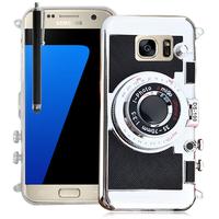 Samsung Galaxy S7 G930F/ G930FD/ S7 (CDMA) G930: Coque Silicone TPU motif appreil photo élégant camera case, support vidéo + mirroir + Stylet - NOIR