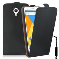 Lenovo ZUK Z1: Accessoire Housse Coque Pochette Etui protection vrai cuir à rabat vertical + mini Stylet - NOIR