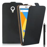 Lenovo ZUK Z1: Accessoire Housse Coque Pochette Etui protection vrai cuir à rabat vertical + Stylet - NOIR