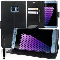 Samsung Galaxy Note7 N930F/ Note 7 Duos/ Note7 (USA) N930: Accessoire Etui portefeuille Livre Housse Coque Pochette support vidéo cuir PU + mini Stylet - NOIR