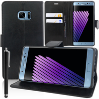 Samsung Galaxy Note7 N930F/ Note 7 Duos/ Note7 (USA) N930: Accessoire Etui portefeuille Livre Housse Coque Pochette support vidéo cuir PU + Stylet - NOIR