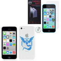 Apple iPhone 5C: Coque Housse silicone TPU Transparente Ultra-Fine Dessin animé jolie - Team Mystic + 1 Film de protection d'écran Verre Trempé