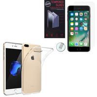 """Apple iPhone 7 Plus 5.5"""" (non compatible iPhone 7 4.7''): Etui Housse Pochette Accessoires Coque gel UltraSlim - TRANSPARENT + 1 Film de protection d'écran Verre Trempé"""
