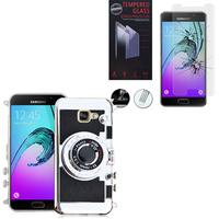 Samsung Galaxy A5 (2016) SM-A510F A510M A510FD A5100 A510Y: Coque Silicone TPU motif appreil photo élégant camera case, support vidéo + mirroir - NOIR + 1 Film de protection d'écran Verre Trempé