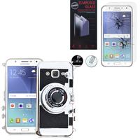 Samsung Galaxy J5 SM-J500F/ J500FN: Coque Silicone TPU motif appreil photo élégant camera case, support vidéo + mirroir - NOIR + 1 Film de protection d'écran Verre Trempé