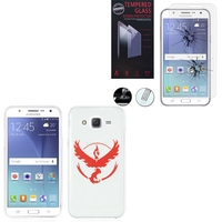 Samsung Galaxy J5 SM-J500F/ J500FN (non compatible Galaxy J5 (2016)): Coque Housse silicone TPU Transparente Ultra-Fine Dessin animé jolie - Team Valor + 1 Film de protection d'écran Verre Trempé