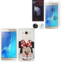 Samsung Galaxy J5 (2016) J510FN/ J510F/ J510G/ J510Y/ J510M: Coque Housse silicone TPU Transparente Ultra-Fine Dessin animé jolie - Minnie Mouse + 1 Film de protection d'écran Verre Trempé