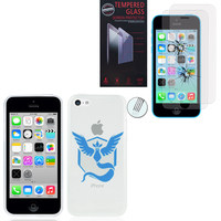 Apple iPhone 5C: Coque Housse silicone TPU Transparente Ultra-Fine Dessin animé jolie - Team Mystic + 2 Films de protection d'écran Verre Trempé