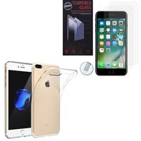 """Apple iPhone 7 Plus 5.5"""" (non compatible iPhone 7 4.7''): Etui Housse Pochette Accessoires Coque gel UltraSlim - TRANSPARENT + 2 Films de protection d'écran Verre Trempé"""