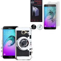 Samsung Galaxy A5 (2016) SM-A510F A510M A510FD A5100 A510Y: Coque Silicone TPU motif appreil photo élégant camera case, support vidéo + mirroir - NOIR + 2 Films de protection d'écran Verre Trempé