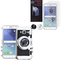 Samsung Galaxy J5 SM-J500F/ J500FN: Coque Silicone TPU motif appreil photo élégant camera case, support vidéo + mirroir - NOIR + 2 Films de protection d'écran Verre Trempé