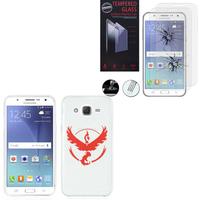 Samsung Galaxy J5 SM-J500F/ J500FN (non compatible Galaxy J5 (2016)): Coque Housse silicone TPU Transparente Ultra-Fine Dessin animé jolie - Team Valor + 2 Films de protection d'écran Verre Trempé