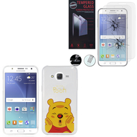 Samsung Galaxy J5 SM-J500F/ J500FN: Coque Housse silicone TPU Transparente Ultra-Fine Dessin animé jolie - Winnie the Pooh + 2 Films de protection d'écran Verre Trempé