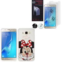 Samsung Galaxy J5 (2016) J510FN/ J510F/ J510G/ J510Y/ J510M: Coque Housse silicone TPU Transparente Ultra-Fine Dessin animé jolie - Minnie Mouse + 2 Films de protection d'écran Verre Trempé