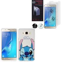 Samsung Galaxy J5 (2016) J510FN/ J510F/ J510G/ J510Y/ J510M: Coque Housse silicone TPU Transparente Ultra-Fine Dessin animé jolie - Stitch + 2 Films de protection d'écran Verre Trempé