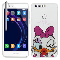 "Huawei Honor 8 5.2"" (non compatible Honor V8): Coque Housse silicone TPU Transparente Ultra-Fine Dessin animé jolie + Stylet - Daisy Duck"