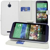 HTC Desire 510: Accessoire Etui portefeuille Livre Housse Coque Pochette support vidéo cuir PU - BLANC