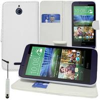 HTC Desire 510: Accessoire Etui portefeuille Livre Housse Coque Pochette support vidéo cuir PU + mini Stylet - BLANC