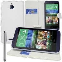 HTC Desire 510: Accessoire Etui portefeuille Livre Housse Coque Pochette support vidéo cuir PU + Stylet - BLANC
