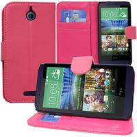HTC Desire 510: Accessoire Etui portefeuille Livre Housse Coque Pochette support vidéo cuir PU - ROSE