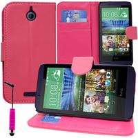 HTC Desire 510: Accessoire Etui portefeuille Livre Housse Coque Pochette support vidéo cuir PU + mini Stylet - ROSE