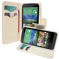 HTC Desire 510: Accessoire Etui portefeuille Livre Housse Coque Pochette support vidéo cuir PU effet tissu - BLANC