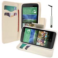 HTC Desire 510: Accessoire Etui portefeuille Livre Housse Coque Pochette support vidéo cuir PU effet tissu + mini Stylet - BLANC