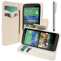 HTC Desire 510: Accessoire Etui portefeuille Livre Housse Coque Pochette support vidéo cuir PU effet tissu + Stylet - BLANC