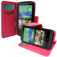 HTC Desire 510: Accessoire Etui portefeuille Livre Housse Coque Pochette support vidéo cuir PU effet tissu - ROSE