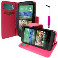 HTC Desire 510: Accessoire Etui portefeuille Livre Housse Coque Pochette support vidéo cuir PU effet tissu + mini Stylet - ROSE