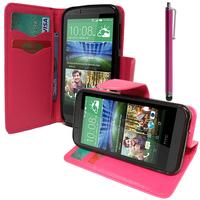 HTC Desire 510: Accessoire Etui portefeuille Livre Housse Coque Pochette support vidéo cuir PU effet tissu + Stylet - ROSE