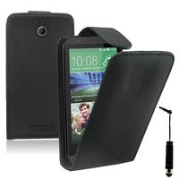 HTC Desire 510: Accessoire Etui Housse Coque Pochette simili cuir + mini Stylet - NOIR