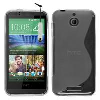 HTC Desire 510: Accessoire Housse Etui Pochette Coque S silicone gel + mini Stylet - TRANSPARENT